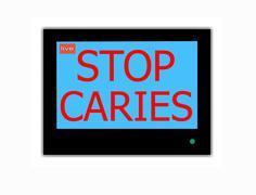 slogan stop  caries on television screen - stock illustration