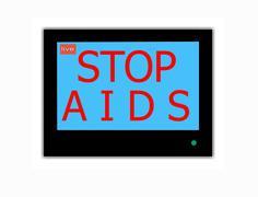 Slogan stop aids  on television screen Stock Illustration