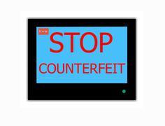 slogan stop counterfeit on television screen - stock illustration