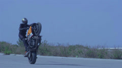 Motorcycle one wheel balance Stock Footage