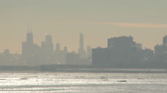 Chicago distant skyline in winter Stock Footage