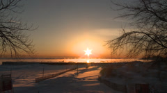 Winter sunrise timelapse over Lake Michigan Stock Footage