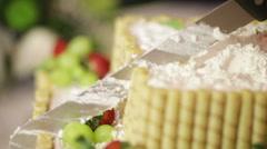 Original cut fruit cake at wedding Stock Footage