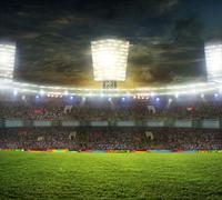Stadion urheilu ja konsertteja tyhjä aurinkoisena päivänä Kuvituskuvat