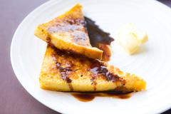 Toast with sauce chocolate and butter Stock Photos