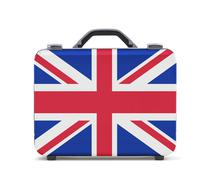 Stock Photo of business suitcase for travel with flag of uk