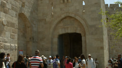 4K UHD People enter Old City Jerusalem via Jaffa Gate, Israel. Stock Footage