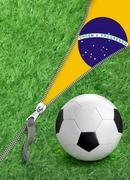 Zipper with grass and football ball on brazil flag. Stock Illustration