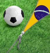zipper with grass and football ball on brazil flag. - stock illustration