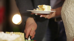Cutting and folding fruit cake Stock Footage
