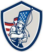 American soldier waving stars stripes flag shield Piirros