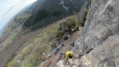 Romanian climber Mihnea Prundean climbing route in Turzii Gorge Romania Stock Footage