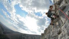 Cristina Pogacean Piolet d'or nominee Woman climbing past camera  in Turzii Gorg Stock Footage