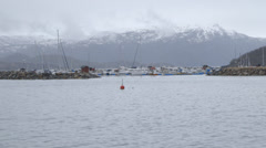 Norway-Narvik-Port-Marina-Landscape Stock Footage