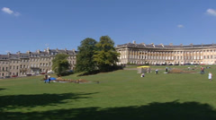 BATH, ENGLAND -  pan Georgian houses Royal Crescent Stock Footage
