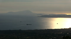 Italy - Overlooking the Gulf of Naples at sunset Stock Footage