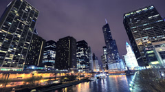Chicago River and Skyline Timelapse Stock Footage