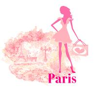 beautiful women silhouette shopping in paris - vector card - stock illustration