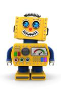 smiling toy robot - stock illustration
