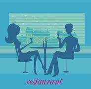 Young couple silhouette flirt and drink champagne in the restaurant Stock Illustration