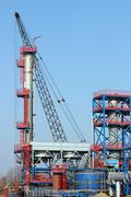new petrochemical plant construction site - stock photo