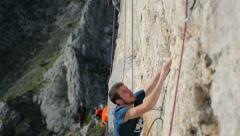 climber crowded crag close - stock footage