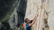 Stock Video Footage of climber crowded crag close