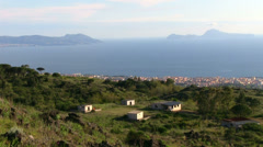 Views of the Sorrento Peninsula and the island of Capri in the Bay of Naples. Stock Footage