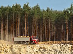 Big truck with red cabin and gray semitrailer full of loaded material. Open mine - stock photo