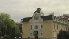 Clock on old building time lapse Stock Footage