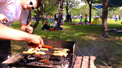 BBQ smoked grill barbecue,Picnic Eating Outdoor Dining Stock Footage