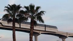 Las Vegas Monorail train over Convention Center. Nevada, USA. Stock Footage