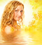 Young girl with curl hair in rendered water Stock Photos