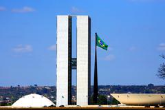 the national congress of brazil. - stock photo