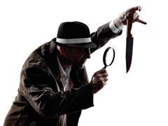 Etsivä mies rikolliset tutkimukset siluetteja Kuvituskuvat