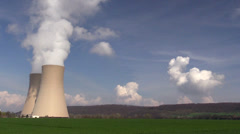 Nuclear station against the sky in Germany Stock Footage