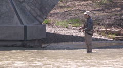 Fly fishing in the humber river in Toronto Stock Footage