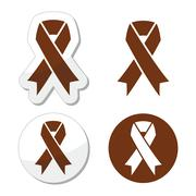 Brown ribbon anti-tobacco symbol, awereness of colon cancer, colorectal cancer - stock illustration
