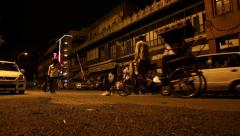 Night in Old Delhi at Street level Stock Footage