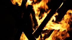 Wood fire in the dark Stock Footage