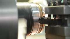 Metal machining by turning on lathe Stock Footage