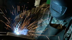 Welder at factory workshop Stock Footage