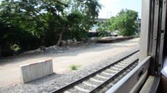 Railway Train start at Bangkok go to Phra Nakhon Si Ayutthaya at Thailand Stock Footage