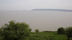 Weston-super-mare bay Somerset England filmed from Brean Down PAN Stock Footage