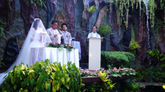 Groom says his vows at garden wedding Stock Footage