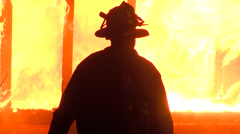 Firefighter 's silhouette Stock Footage