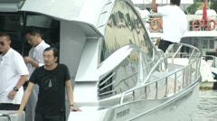 Luxury boat in Sanya, China  Stock Footage