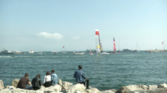 People looking at America's cup boats  Stock Footage