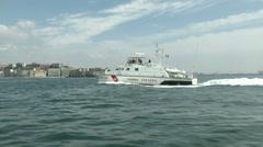 Coast guard boat navigating  Stock Footage