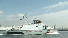 Coast guard boat navigating  Stock Footage